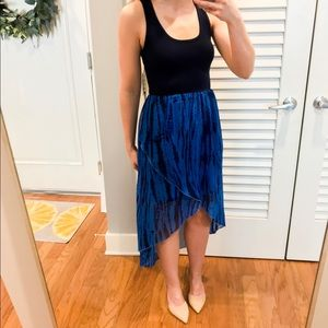 High low navy tie dye maxi dress